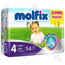 Molfix Бебешки еднократни памперси 3D Джъмбо р-р 4+  /9-16кг/ 54бр.